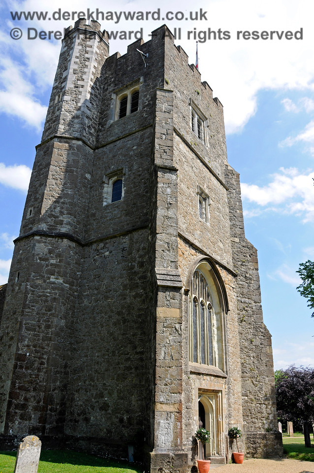 St Botolphs Church, Chevening showing the turret containing the stairs on the left.  19.06.2015  12891