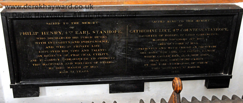 """Memorials to Philip Henry 4th Earl Stanhope, who died on March 2nd 1855, aged 73, and (second memorial) to Catherine Lucy 4th Countess Stanhope, daughter of Robert 1st Lord Carrington.  Married November 19th 1803, died October 1st 1843.   Stanhope Chantry (Chapel), St Botolphs Church, Chevening.  19.06.2015  12831    [The inscriptions on black memorials can be read by clicking on the image and then selecting """"O"""" (Original) from the menu that appears.  This produces a very large image on which the words can be seen.]"""