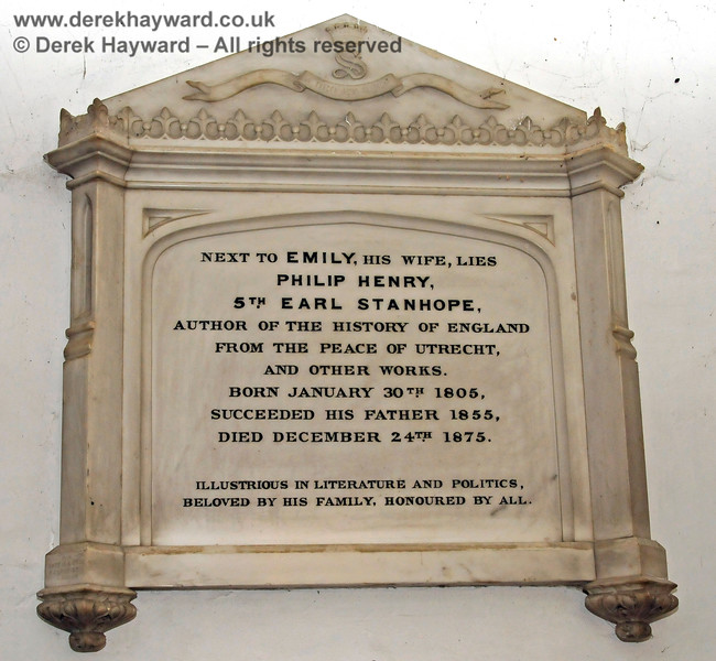 Memorial to Philip Henry 5th Earl Stanhope and his wife Emily.  The Earl was born on January 30th 1805 and died on December 24th 1875.  Stanhope Chantry (Chapel), St Botolphs Church, Chevening.  19.06.2015  12817