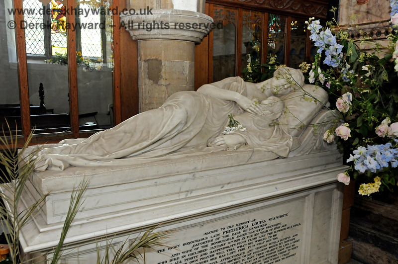 The memorial to the Rt. Hon. Lady Frederica Louisa Stanhope who died following the birth of her child on 14 January 1825, aged 25.  (See also subsequent image).  Stanhope Chantry (Chapel), St Botolphs Church, Chevening.  19.06.2015  12811