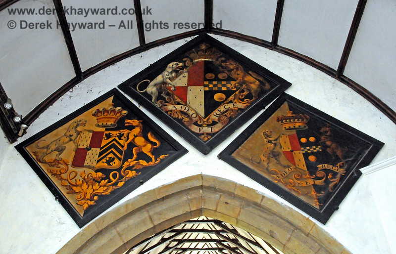 There are a total of ten hatchments either inside the Stanhope Chantry (Chapel), or within the main body of the church.  They depict the arms of various Stanhopes, Mansfield and Pitt.  Hatchments were hung at the entrance to the deceased's house at the time of death, carried at the funeral, and then placed in the church.    St Botolphs Church, Chevening.  19.06.2015  12827