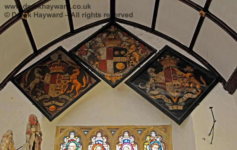 There are a total of ten hatchments either inside the Stanhope Chantry (Chapel), or within the main body of the church.  They depict the arms of various Stanhopes, Mansfield and Pitt.  Hatchments were hung at the entrance to the deceased's house at the time of death, carried at the funeral, and then placed in the church.   St Botolphs Church, Chevening.  19.06.2015  12826