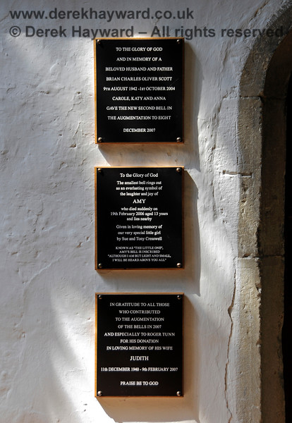 Memorials relating to the augmentation of the bells at St Botolphs Church, Chevening in 2007.  (See also the images below).  19.06.2015  12858