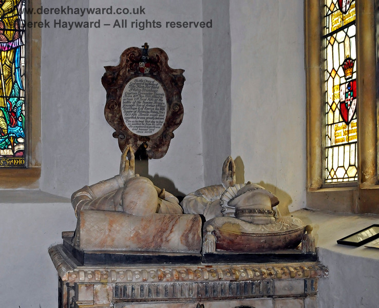 The tomb and effigies of John Lennard, died 1590, and his wife Elizabeth, died 1585 (former owners of the Estate).  This appeared to be the oldest tomb Inside the Stanhope Chantry (Chapel).   St Botolphs Church, Chevening.  19.06.2015  12804