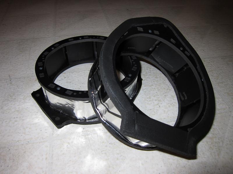 """Foam sealant and Dynamat installed on speaker adapters from  <a href=""""http://www.car-speaker-adapters.com/items.php?id=SAK075""""> Car-Speaker-Adapters.com</a>"""