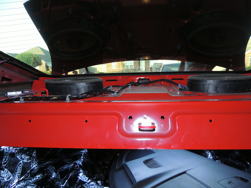 Rear deck panel removed.  Factory speakers shown.