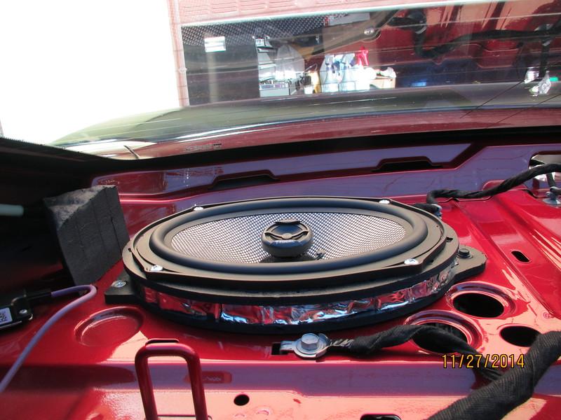 """Aftermarket speaker and speaker adapter bracket   from  <a href=""""http://www.car-speaker-adapters.com/items.php?id=SAK067""""> Car-Speaker-Adapters.com</a>   installed in rear deck"""