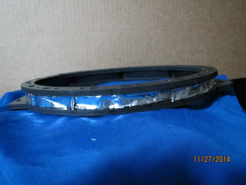"Speaker adapter bracket  from  <a href=""http://www.car-speaker-adapters.com/items.php?id=SAK067""> Car-Speaker-Adapters.com</a>   with sound deadener installed"