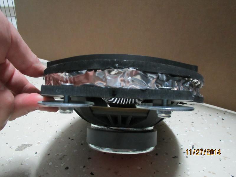 """Aftermarket speaker mounted to speaker adapter bracket   from  <a href=""""http://www.car-speaker-adapters.com/items.php?id=SAK067""""> Car-Speaker-Adapters.com</a>"""