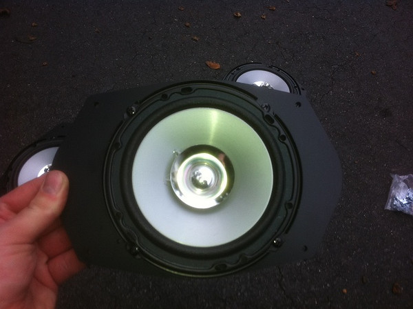 "Kenwood KFC-1652S 6.5-Inch aftermarket speaker mounted in Speaker adapter from  <a href=""http://www.car-speaker-adapters.com/items.php?id=SAK045""> Car-Speaker-Adapters.com</a>"
