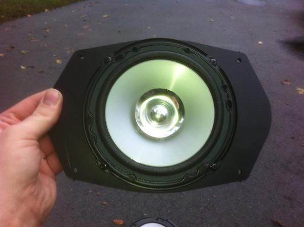 "Kenwood KFC-1652S 6.5-Inch aftermarket speaker mounted in Speaker adapter from  <a href=""http://www.car-speaker-adapters.com/items.php?id=SAK045""> Car-Speaker-Adapters.com</a>"