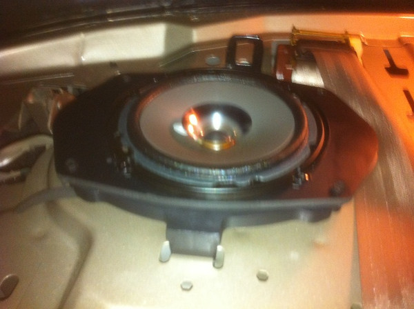 """Kenwood KFC-1652S 6.5-Inch aftermarket speaker and speaker adapter plate from  <a href=""""http://www.car-speaker-adapters.com/items.php?id=SAK045""""> Car-Speaker-Adapters.com</a> mounted in vehicle."""