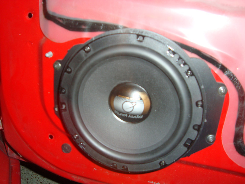"""Speaker adapter from  <a href=""""http://www.car-speaker-adapters.com/items.php?id=SAK055""""> Car-Speaker-Adapters.com</a>  and aftermarket speaker mounted in vehicle"""