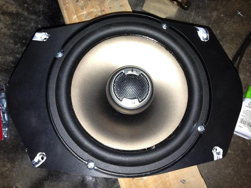 "Aftermarket speaker mounted to speaker adapter plate   from  <a href=""http://www.car-speaker-adapters.com/items.php?id=SAK045""> Car-Speaker-Adapters.com</a>"