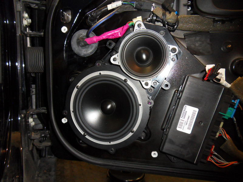 "New aftermarket speakers, speaker adapters from  <a href=""http://www.car-speaker-adapters.com"">http://www.car-speaker-adapters.com</a>  and factory Pod mounted in door."