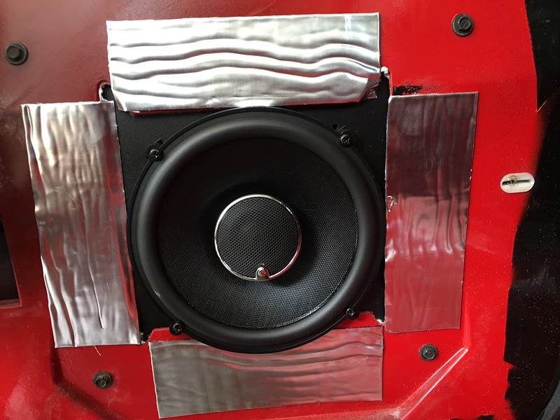"""Aftermarket speaker and speaker adapter from <a href=""""http://car-speaker-adapters.com"""">http://car-speaker-adapters.com</a> installed in door"""