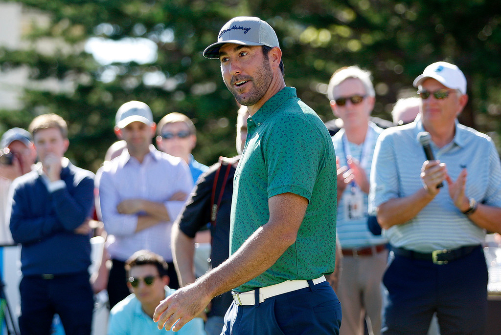 . Current World Series champion Justin Verlander from the Houston Astros during the Chevron Shoot-Out at the Pebble Beach Golf Links practice green on Tuesday, Feb. 6, 2018.  The Chevron Shoot-Out is a two-person teams that faced off in a five-hole putting challenge for charity. Teams were made by pairing past tournament champions with champions from other sports.  (Vern Fisher - Monterey Herald)