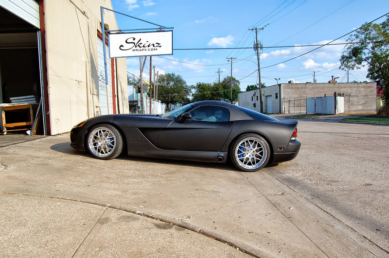 "Flat Black wrap on a Dodge Viper in Dallas, TX. <a href=""http://www.skinzwraps.com"">http://www.skinzwraps.com</a>"