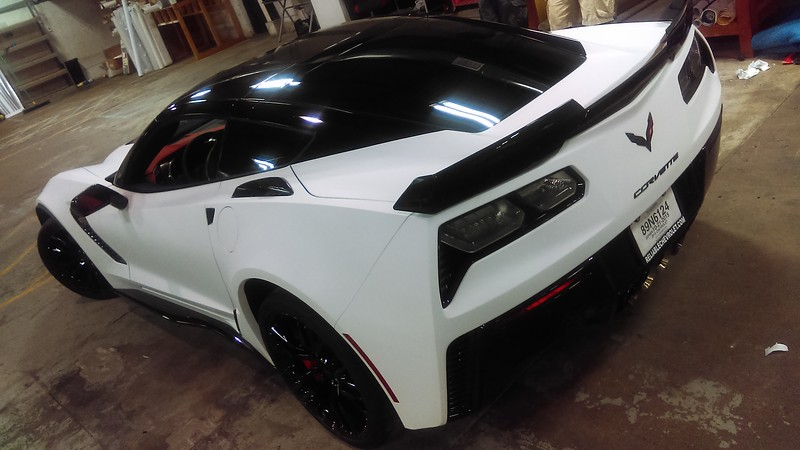 Custom Matte White wrap on a 2016 Chevrolet Corvette Z06, Dallas, TX