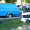 """Three of the """"Powered-Peddle-Cars"""" (Jeep, City Bus, & Rat-Rod Radio-Flyer), along with the Chevy II SEDAN DELIVERY that's no longer big enough to haul'em..."""