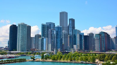 Chicago skyline view from Navy Pier.