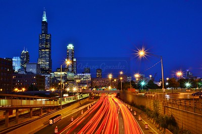 Light trails into Chicago.
