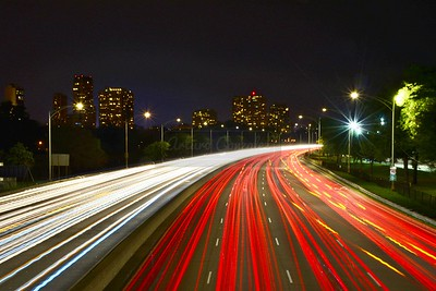 Northbound light trails on Lake Shore Drive