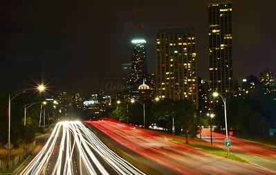 Light trails on Lake Shore Drive into the city.