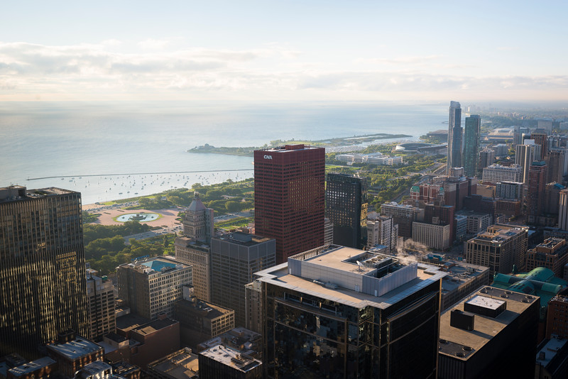 Aerial view looking south from downtown including the CNA Center, Buckingham Fountain, and Lake Michigan