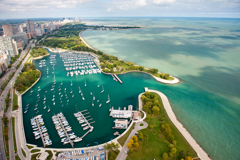 Aerial view of Chicago's lakefront and harbor