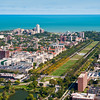 Aerial view of Hyde Park with University of Chicago and Midway Plaisance
