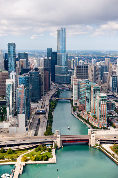 Aerial view of Chicago River looking west