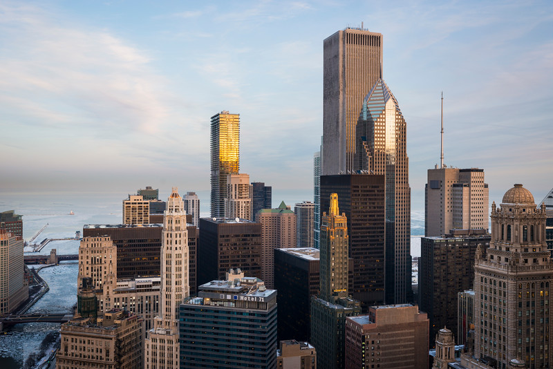 Aerial view including the Chicago River, the Carbide and Carbon Building, Prudential Plaza, and the Jewelers' Building