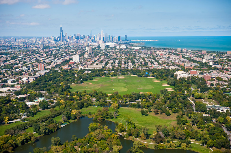 Washington Park with downtown Chicago in the background