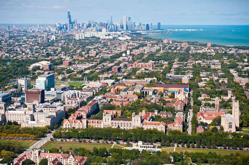 The University of Chicago in Hyde Park with the Chicago skyline