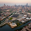 Aerial view of the Chicago skyline including Goose Island