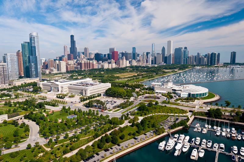 Aerial view of the museum campus and Chicago skyline