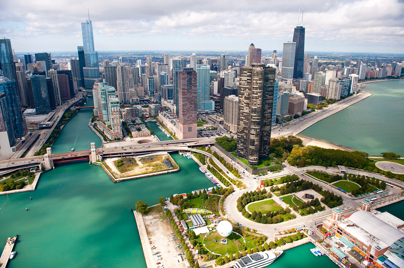 Aerial view of Chicago River, Navy Pier