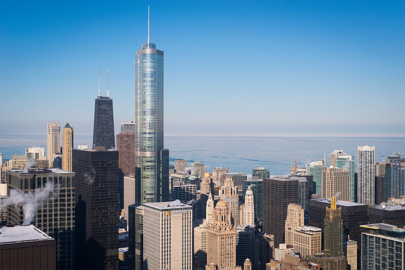 Aerial view including the John Hancock Center, Trump Tower, and the Carbon and the Carbide and Carbon Building