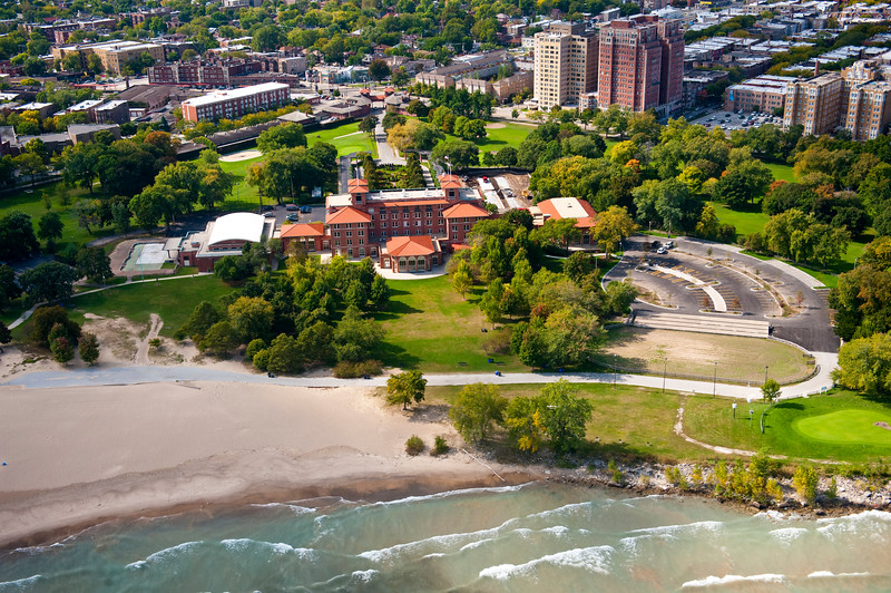 Aerial view of the South Shore Cultural Center, Chicago Park District