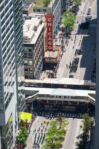 Aerial of the start of the Memorial Day parade on State Street