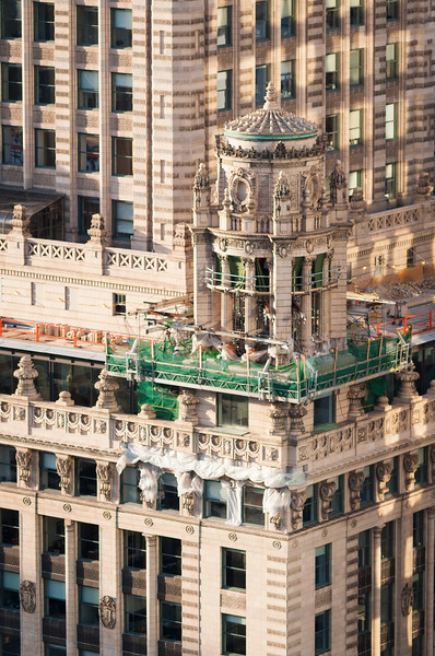 Detail of facade restoration project of Jewelers Building 35 East Wacker Drive landmark architecture maintenance