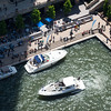Chicago River aerial boats parking at Marina Plaza riverwalk