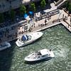 Chicago River aerial boats parking at Marina Plaza riverwalk