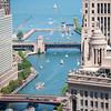 Chicago River aerial and Lake Michigan source lock Lake Shore Drive bridge Columbus Avenue bridge boats river traffic holiday weekend