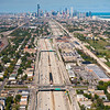 Aerial view of Chicago and the Dan Ryan I-94 Expressway