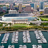 Aerial view of Burnham Harbor and Soldier Field.