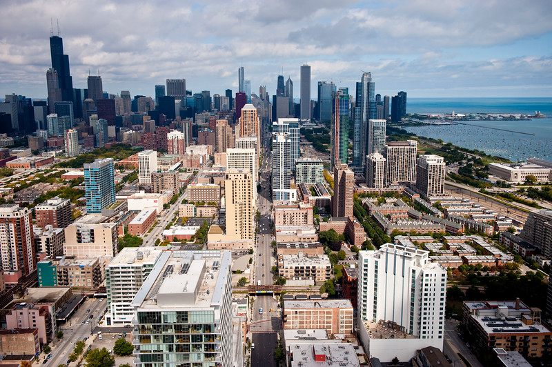 Aerial view of Chicago from the south, looking north