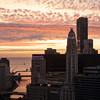 sunrise clouds Lake Michigan aerial