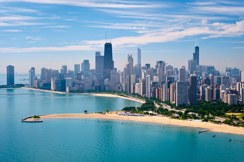 Aerial view of North Avenue Beach and Chicago skyline